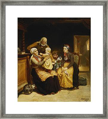 The Visit To The Grandparents Framed Print by Adolph Tidemand