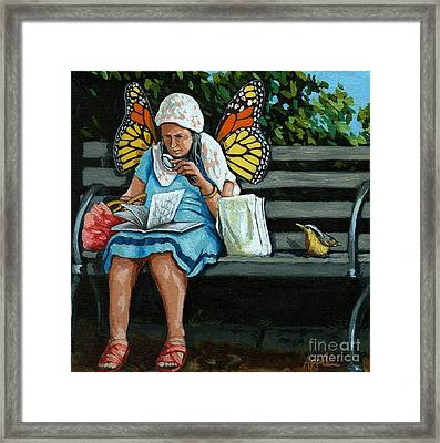 The Visiting Angel - Fantasy Painting Framed Print