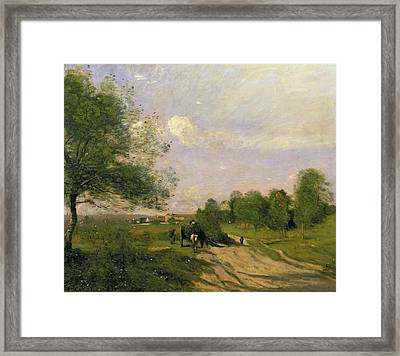 The Wagon Framed Print by Jean Baptiste Camille Corot