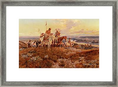 The Wagons Framed Print by Charles Marion Russell