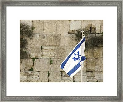 Framed Print featuring the photograph The Wailing Wall And The Flag by Yoel Koskas