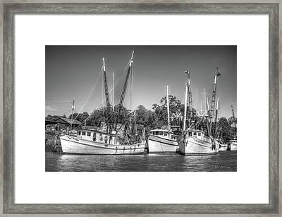 The Waiting Georgia Shrimp Boats Darian Georgia Framed Print by Reid Callaway