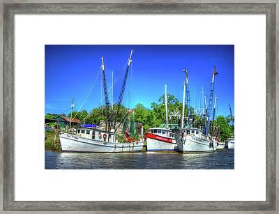 The Waiting Shrimp Boats Darien Georgia Framed Print by Reid Callaway