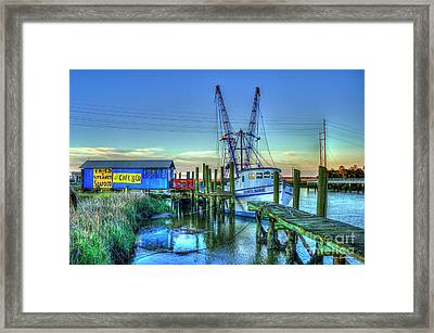 Framed Print featuring the photograph The Waiting Shrimper Tybee Island Dawn Art by Reid Callaway