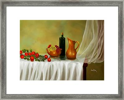 Framed Print featuring the painting The Waiting Table by Sena Wilson