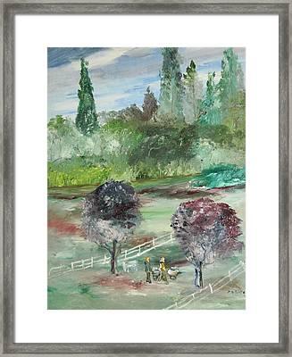 The Walk Through The Park Framed Print by Edward Wolverton