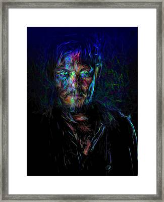 The Walking Dead Daryl Dixon Painted Framed Print by David Haskett