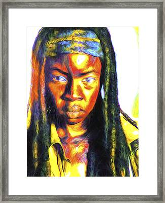 The Walking Dead Painted Danai Gurira  Framed Print by David Haskett