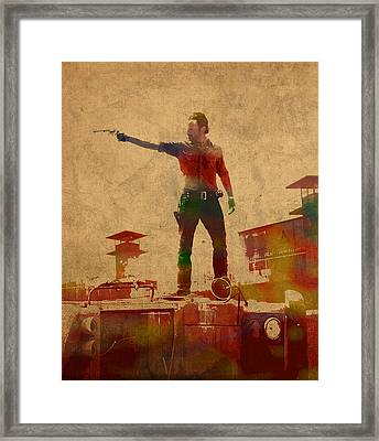 The Walking Dead Watercolor Portrait On Worn Distressed Canvas No 1 Framed Print by Design Turnpike