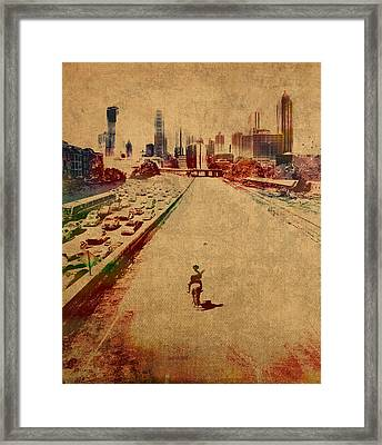 The Walking Dead Watercolor Portrait On Worn Distressed Canvas No 2 Framed Print by Design Turnpike