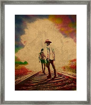The Walking Dead Watercolor Portrait On Worn Distressed Canvas No 3 Framed Print by Design Turnpike
