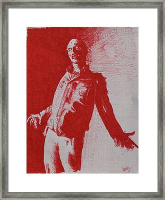 The Walking Red Framed Print