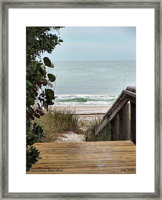 The Walkway To The Beach Framed Print by Judy  Waller