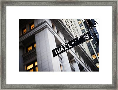 The Wall Street Street Sign Framed Print by Justin Guariglia