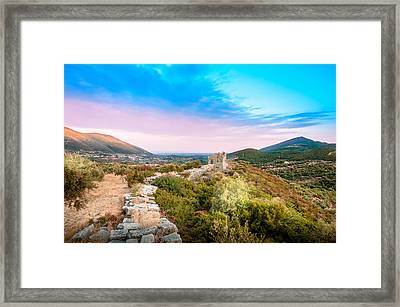 The Walls Of Ancient Messene - Greece. Framed Print