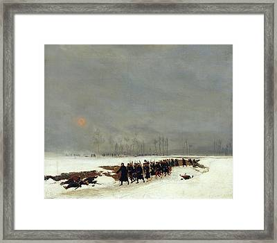 The War Of 1870 An Infantry Column On Their Way To A Raid Framed Print by Jean-Baptiste Edouard Detaille