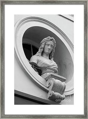 The Watcher - Brussels Relief In Black And White Framed Print