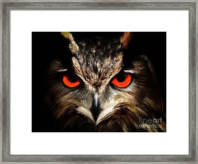 The Watcher - Owl Digital Painting Framed Print