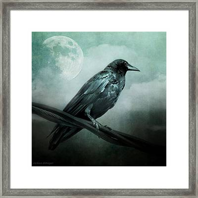 The Watcher Surreal Raven Crow Moon And Clouds Framed Print
