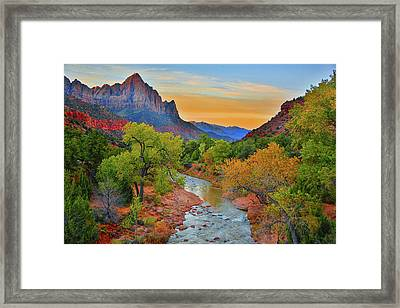 The Watchman And The Virgin River Framed Print
