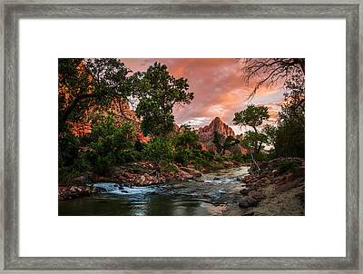 The Watchman Sunset Zion National Park Framed Print by Scott McGuire