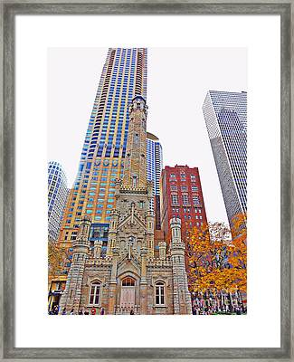 The Water Tower In Autumn Framed Print by Mary Machare