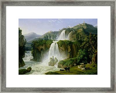 The Waterfall At Tivoli Framed Print by Jacob Philippe Hackert