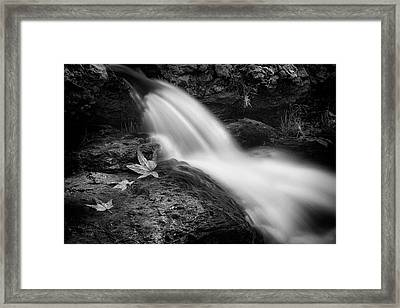 Framed Print featuring the photograph The Waterfall In Black And White  by Saija Lehtonen