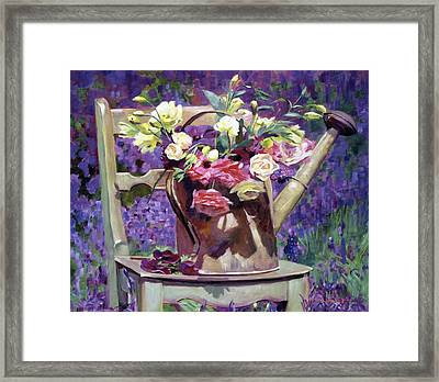 The Watering Can Bouquet Framed Print by David Lloyd Glover