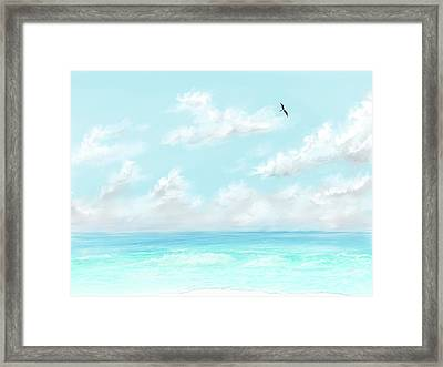 Framed Print featuring the digital art The Waves And Bird by Darren Cannell