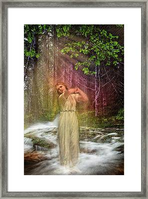 The Weather Rain Framed Print by Debra and Dave Vanderlaan