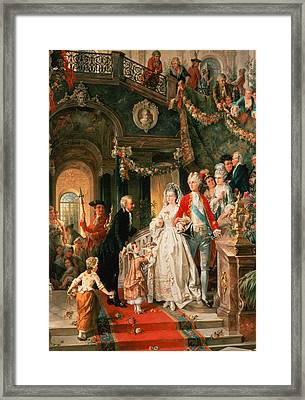 The Wedding Party Framed Print by Carl Herpfer