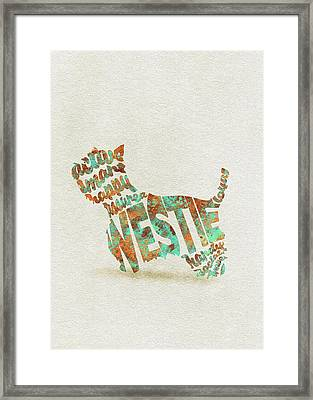Framed Print featuring the painting The West Highland White Terrier Watercolor Painting / Typographic Art by Inspirowl Design
