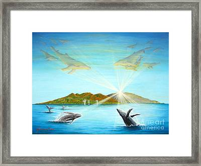 The Whales Of Maui Framed Print by Jerome Stumphauzer