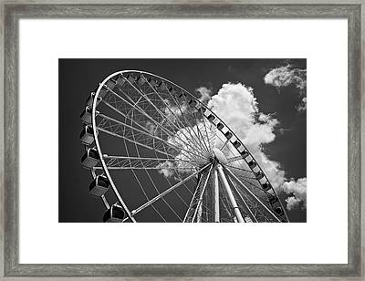 The Wheel And Sky In Black And White Framed Print