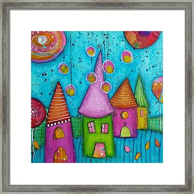 The Whimsical Village - 3 Framed Print