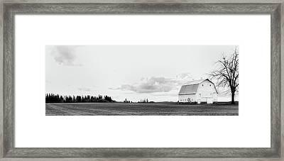The White Barn Framed Print by Rebecca Cozart