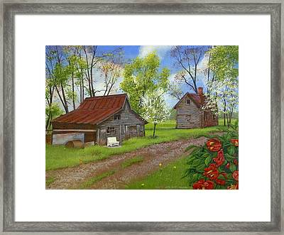 The White Bench Framed Print by Peter Muzyka