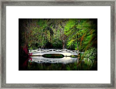 The White Bridge In Magnolia Gardens Sc Framed Print