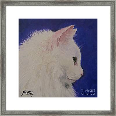 The White Cat Framed Print