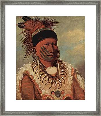 The White Cloud Head Chief Of The Iowas Framed Print