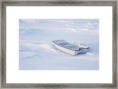 The White Fishing Boat Framed Print