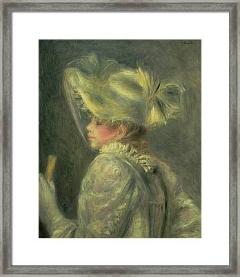 The White Hat Framed Print by Pierre Auguste Renoir
