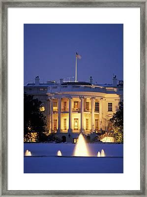 The White House South Portico At Dusk Framed Print by Richard Nowitz
