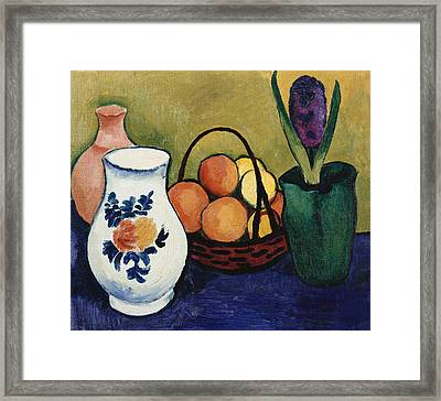 The White Jug With Flower And Fruit Framed Print by August Macke