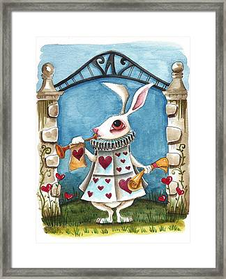 The White Rabbit Announcing Framed Print by Lucia Stewart