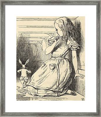 The White Rabbit Is Late Illustration Framed Print by Vintage Design Pics