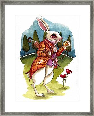 The White Rabbit Is Late Framed Print by Lucia Stewart