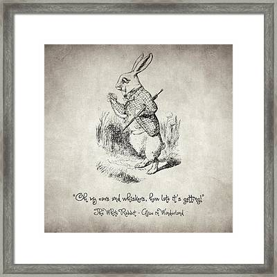 The White Rabbit Quote Framed Print by Taylan Apukovska