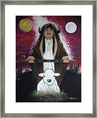 The Whitebuffalocalfwoman Framed Print by Anthony Bear